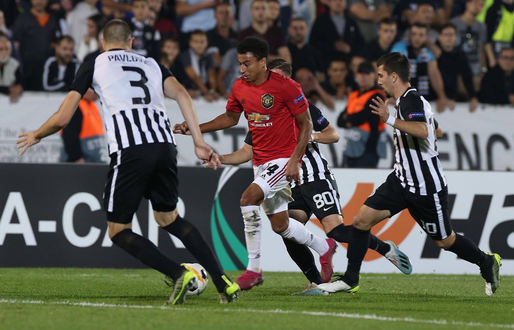 Jesse Lingard in action against Partizan Belgrade
