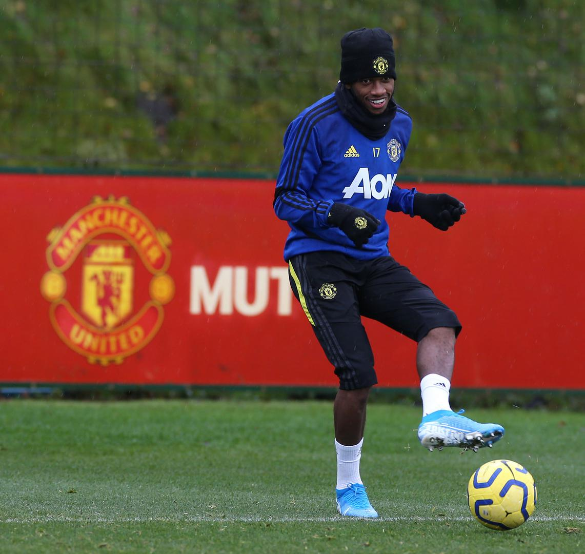 Fred on the ball at the Aon Training Complex,