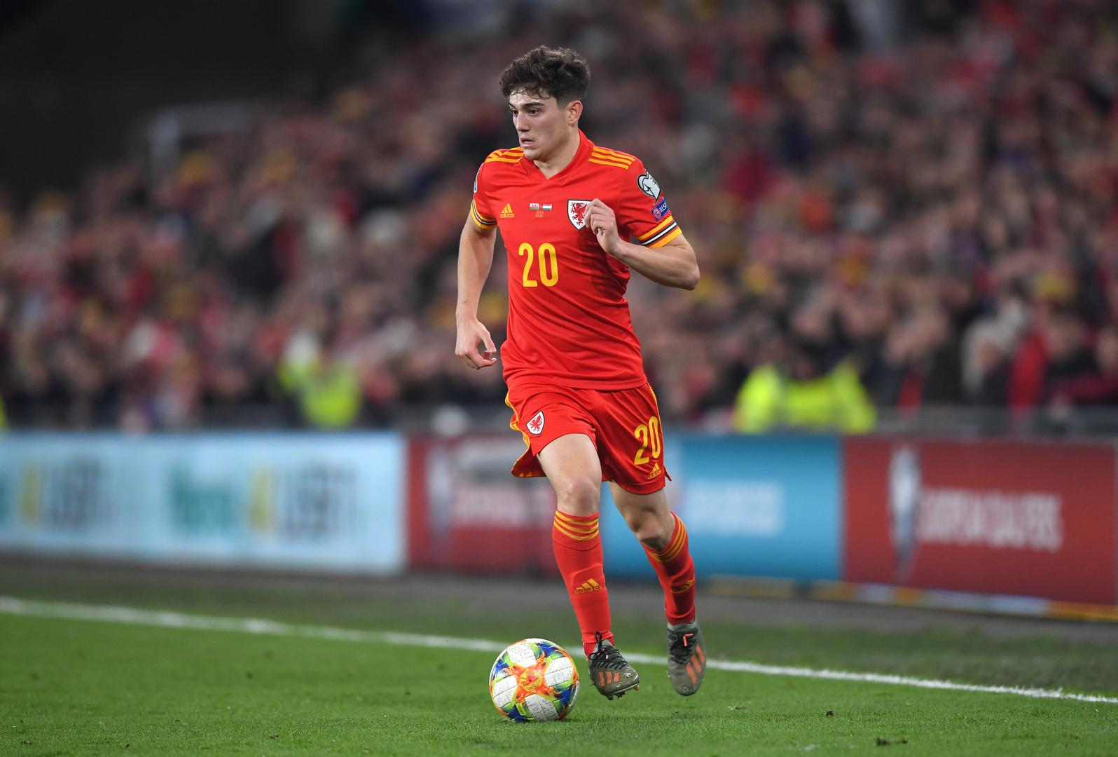 Daniel James playing for Wales.