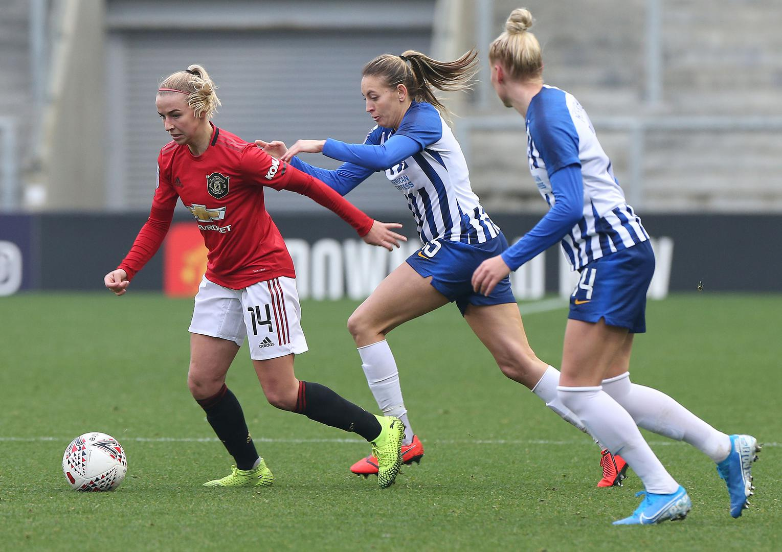 Jackie Groenen on the ball during Manchester United Women's game against Brighton & Hove Albion Women.