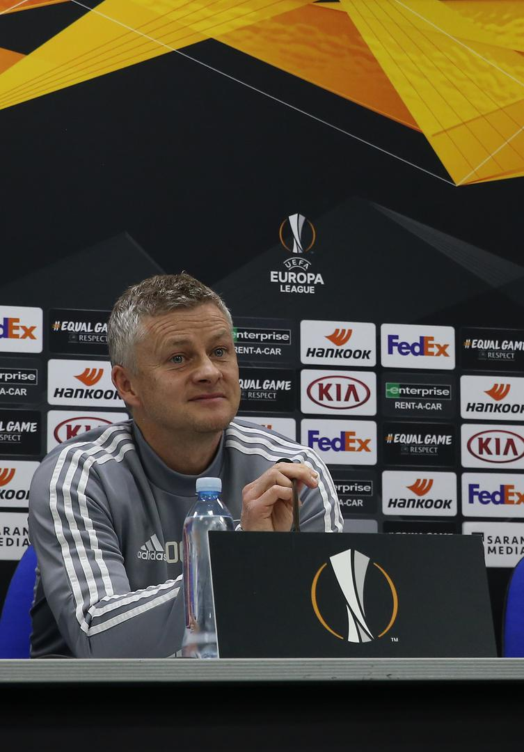 Ole Gunnar Solskjaer speaks at the pre-match press conference at Astana Arena in Kazakhstan