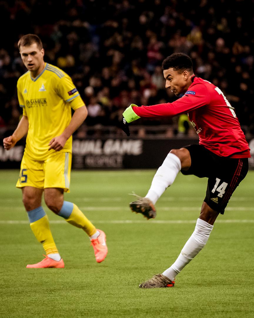 Jesse Lingard scores United's goal against Astana in Kazakhstan.