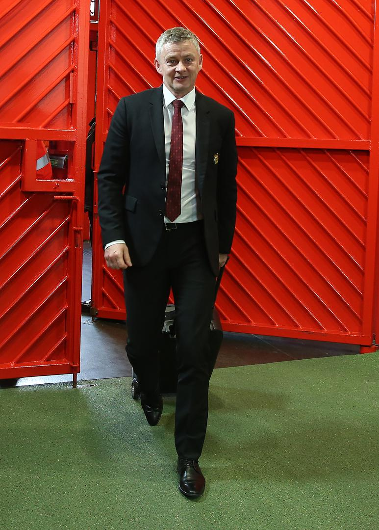 The boss arrives at Old Trafford to face Aston Villa