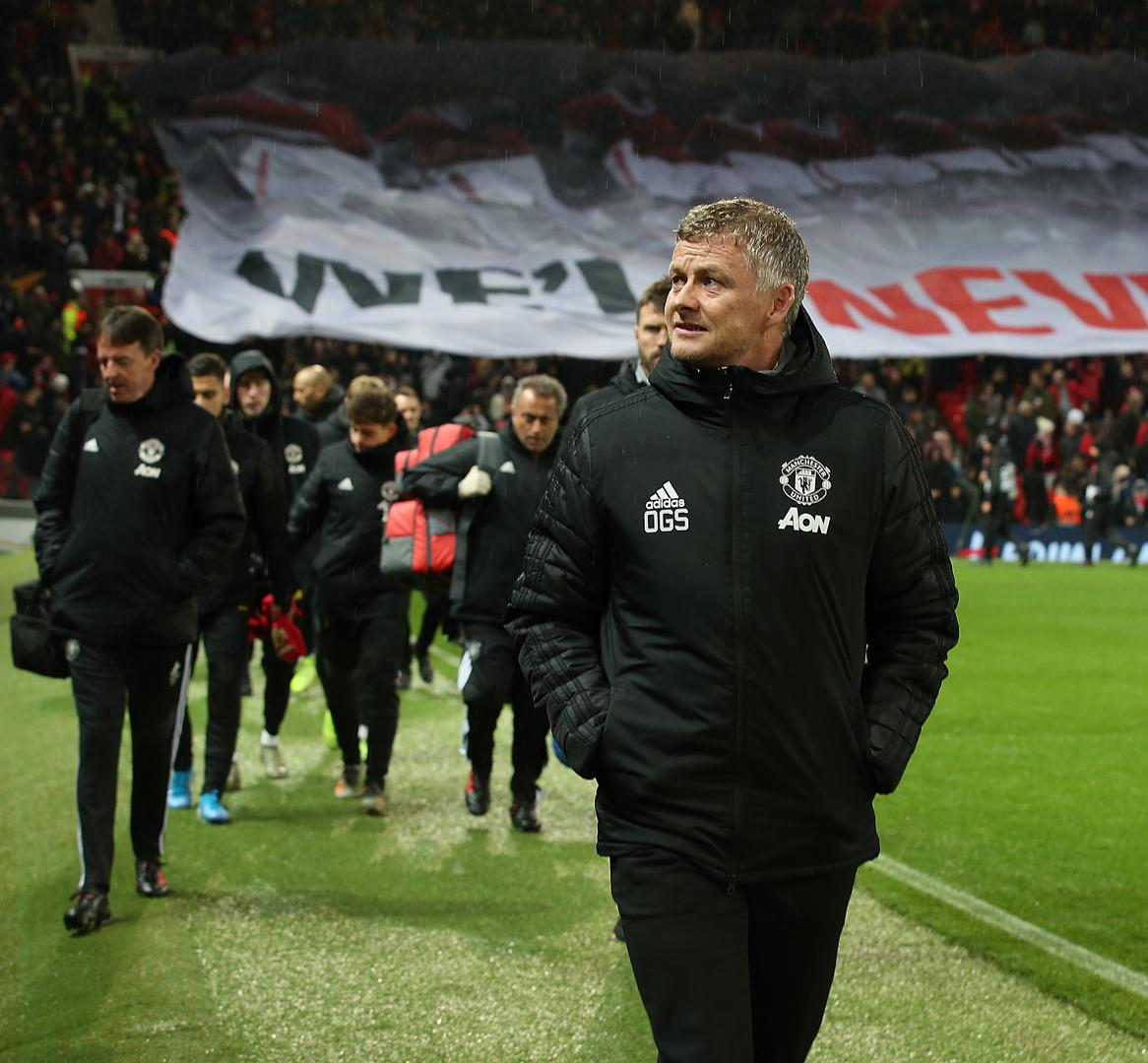 Ole Gunnar Solskjaer walks out for the Partizan Belgrade game at Old Trafford
