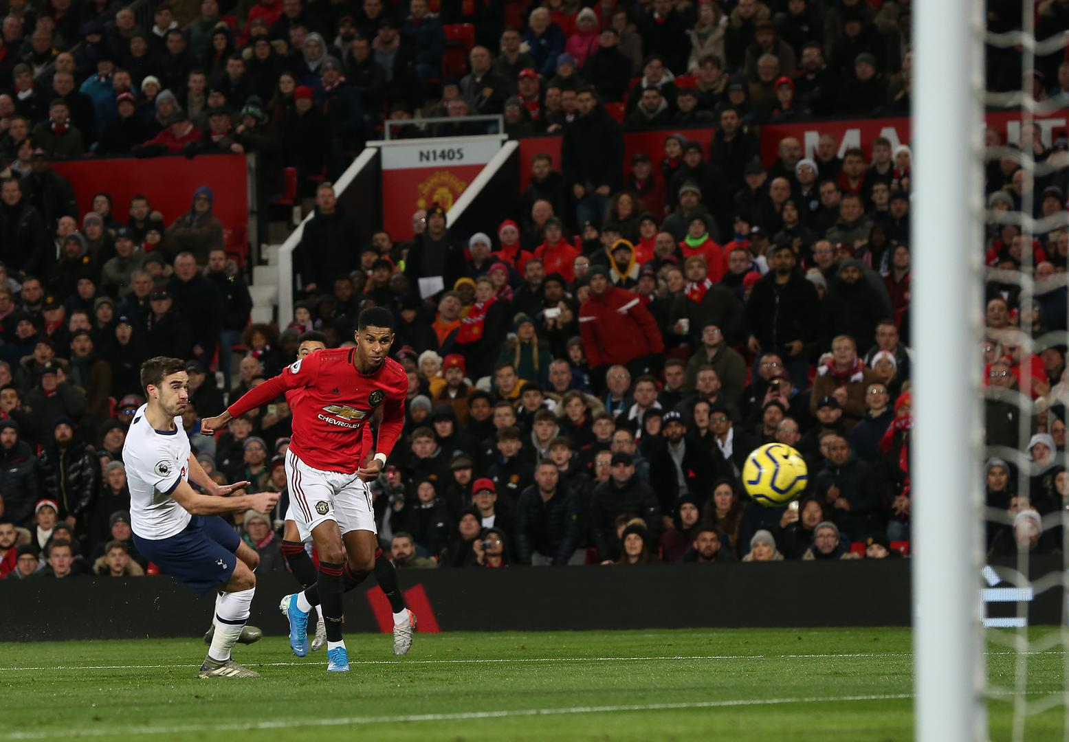 Marcus Rashford scores Manchester United's first goal against Tottenham