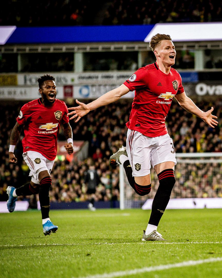 Scott McTominay celebrates scoring for Manchester United against Norwich City..