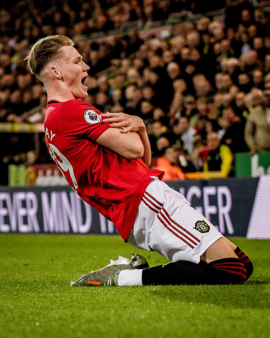 Scott McTominay celebrates his goal against Norwich