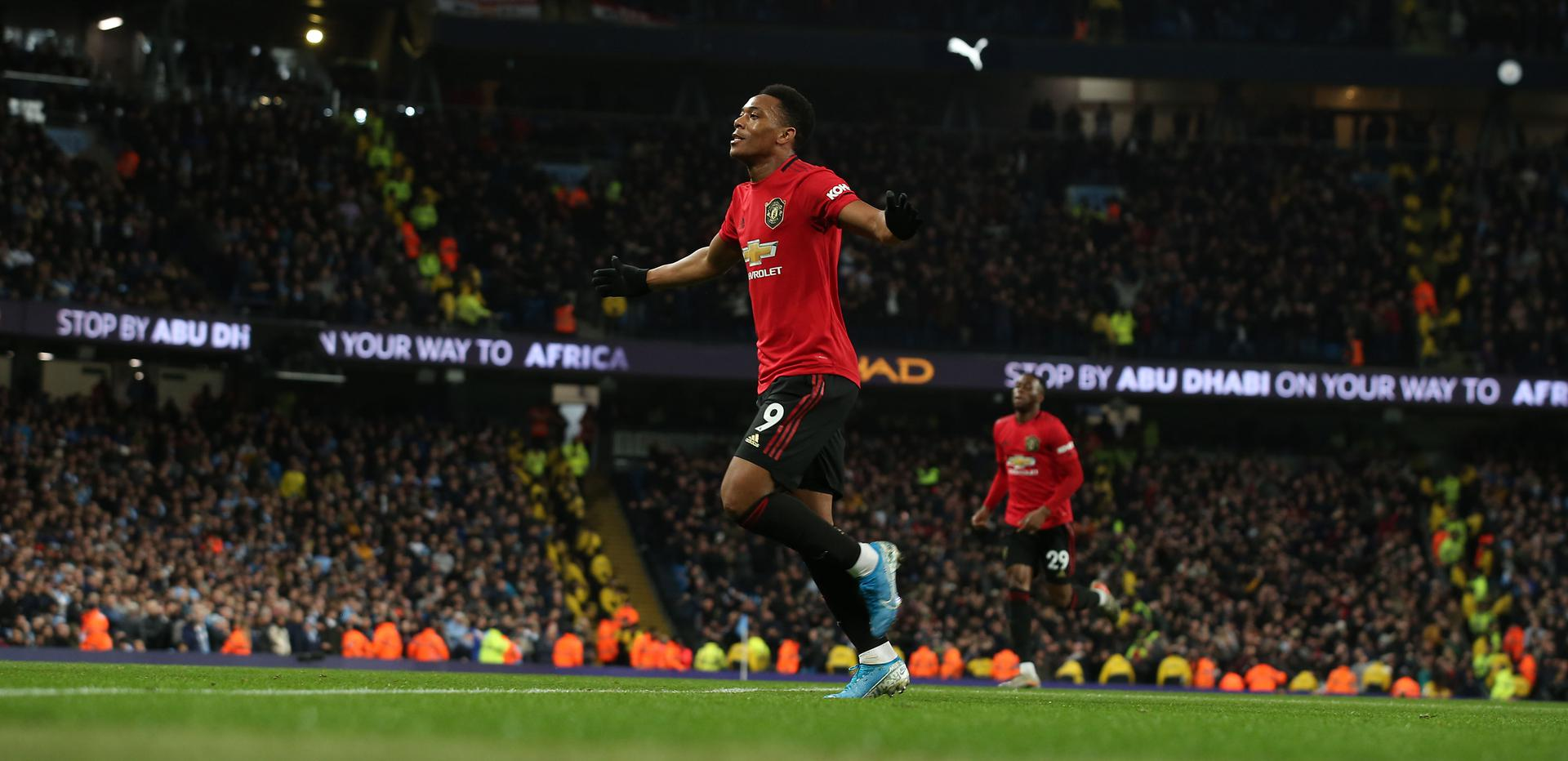 Anthony Martial celebrates his goal against Manchester City