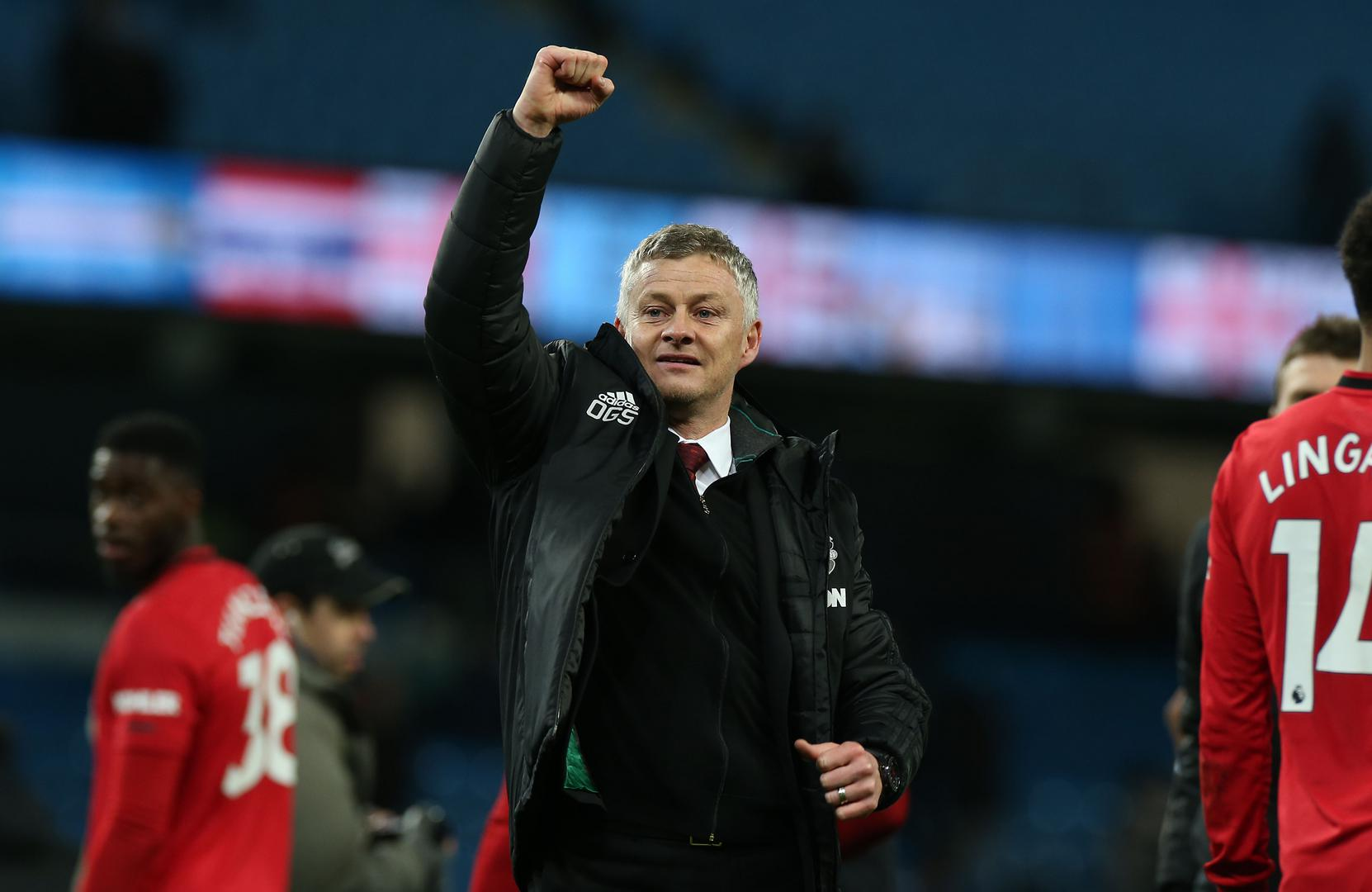 Ole Gunnar Solskjaer celebrates after Manchester United's 2-1 win at Manchester City,