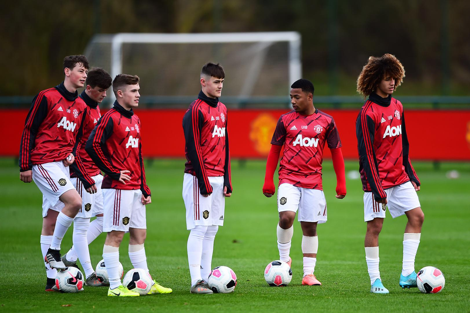United's Under-18s before a game.