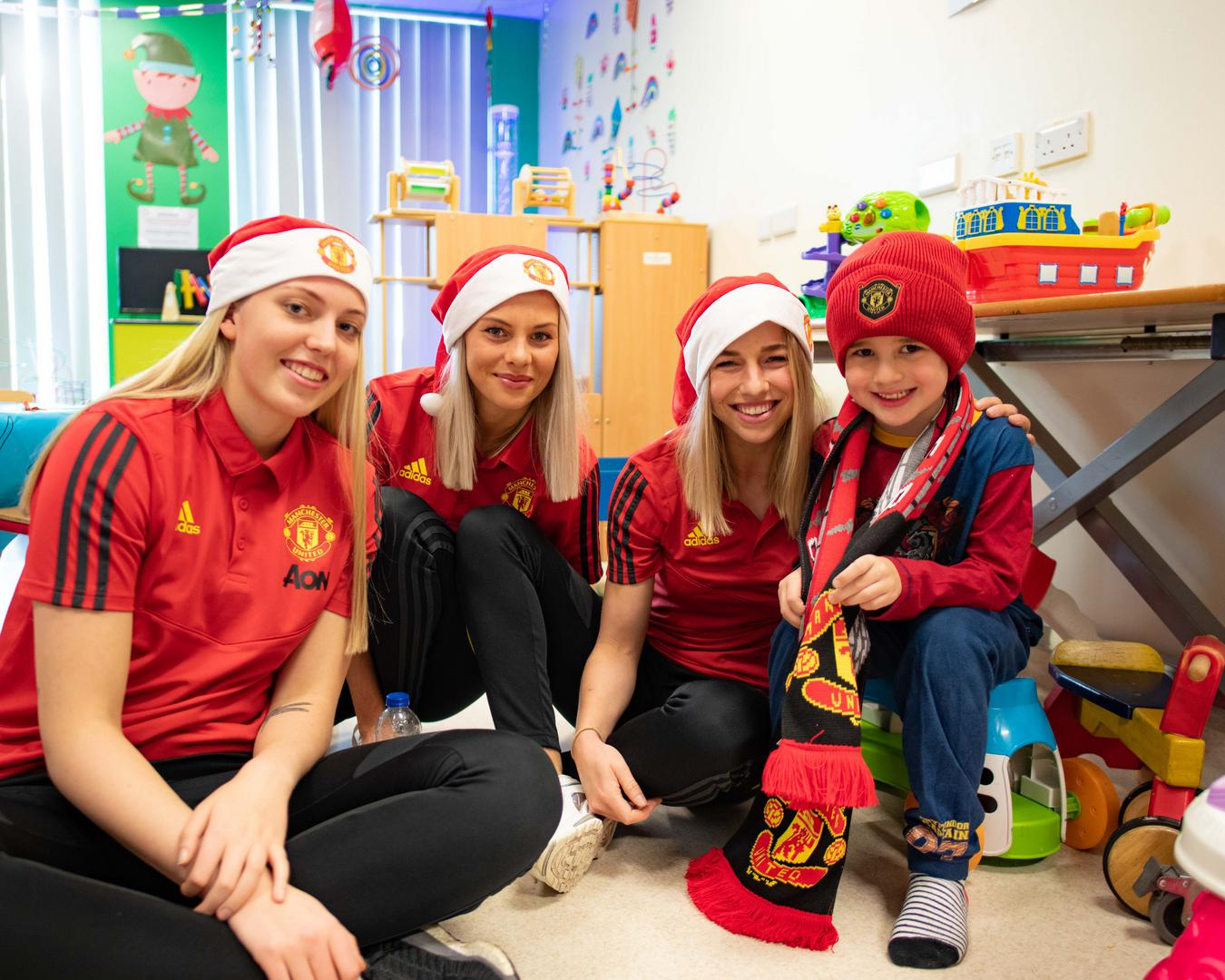 Emily Ramsey, Lotta Okvist and Jackie Groenen at Manchester Children's Hospital.