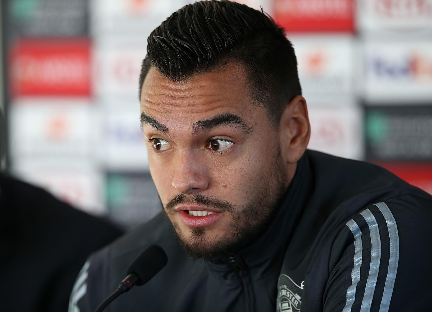 Sergio Romero speaking during a press conference.