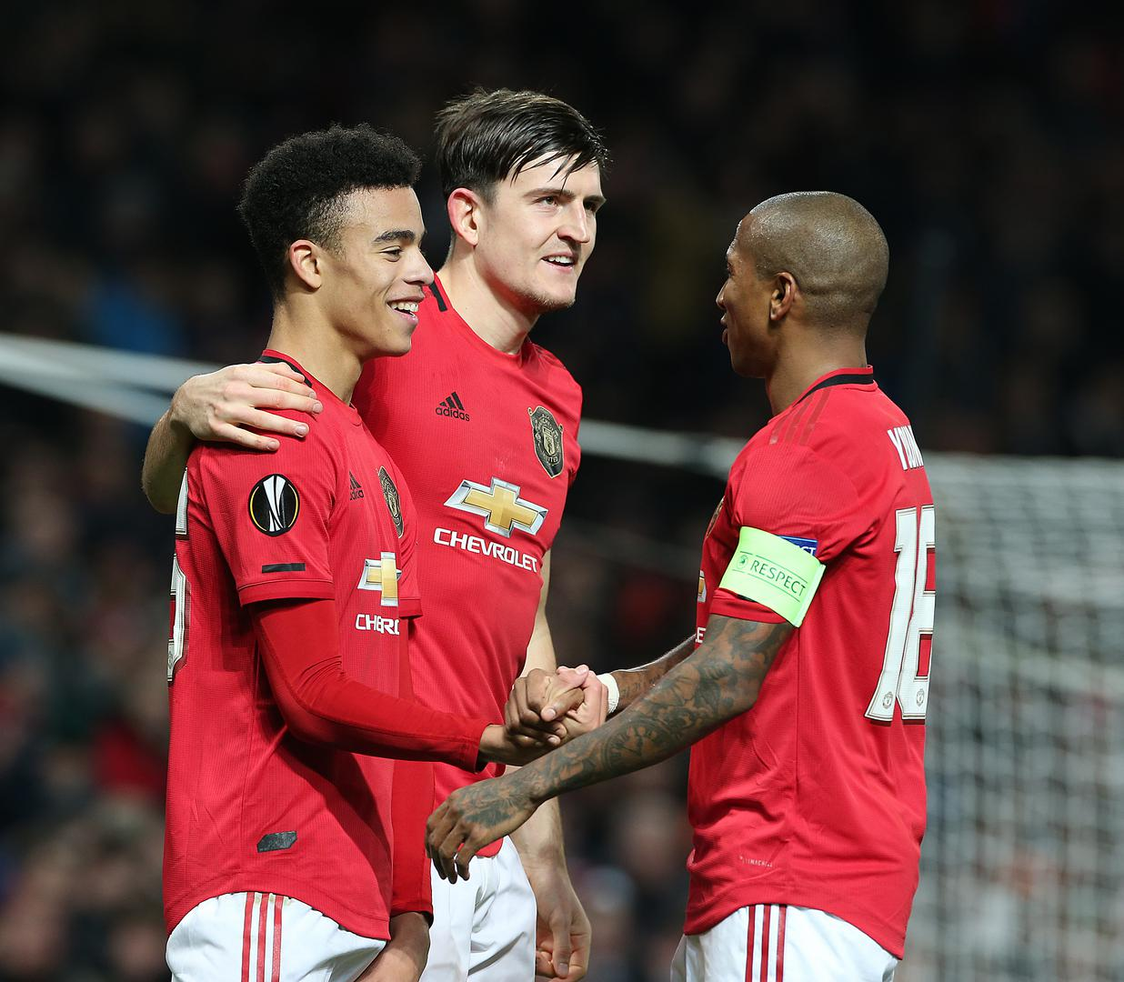 Mason Greenwood, Harry Maguire and Ashley Young celebrate goal against AZ Alkmaar..