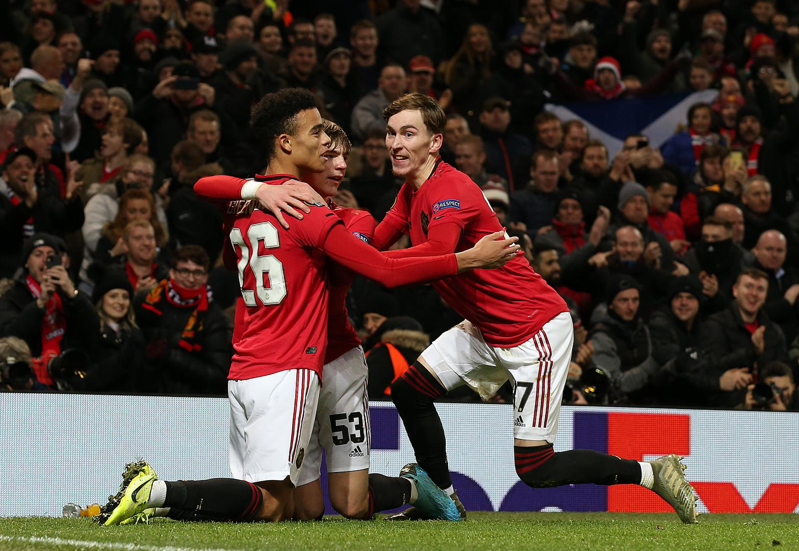 United celebrate Mason Greenwood's first goal against AZ Alkmaar.