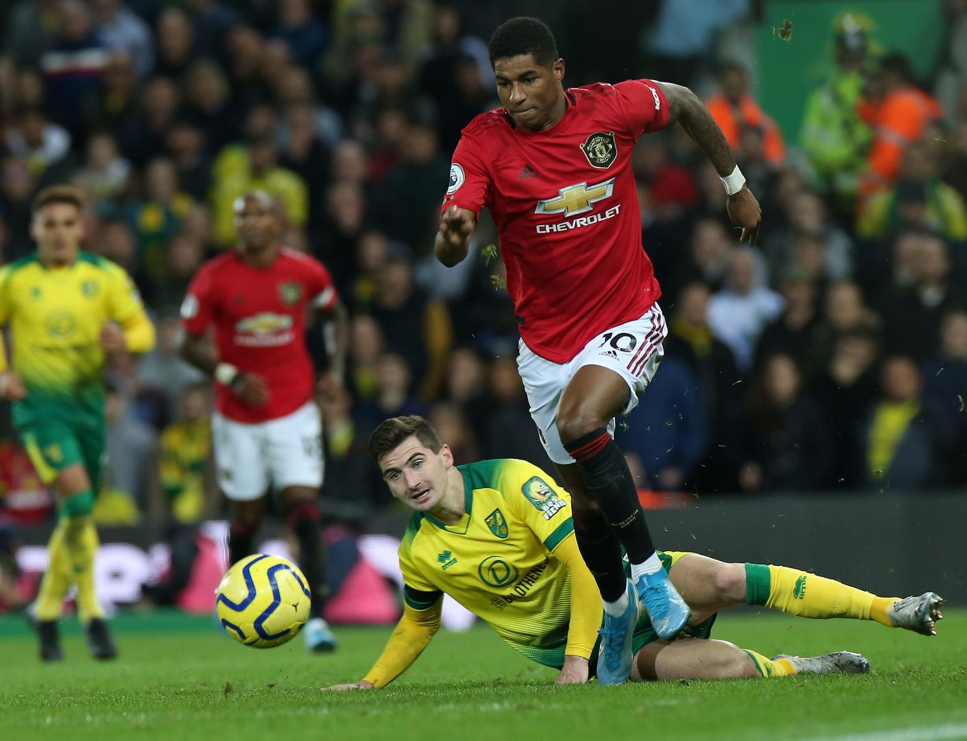 Marcus Rashford with the ball during Norwich City v Manchester United.