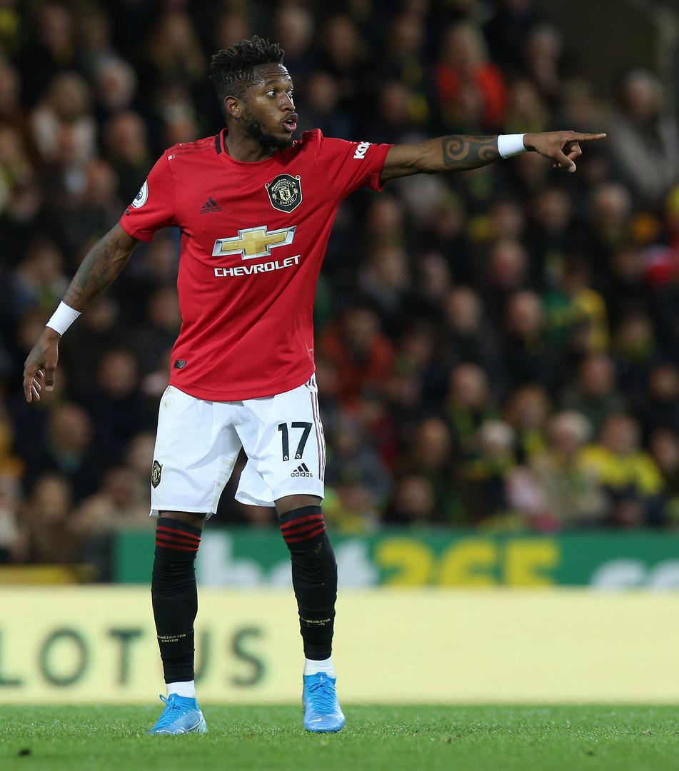Fred issues instructions during Manchester United's trip to Norwich City