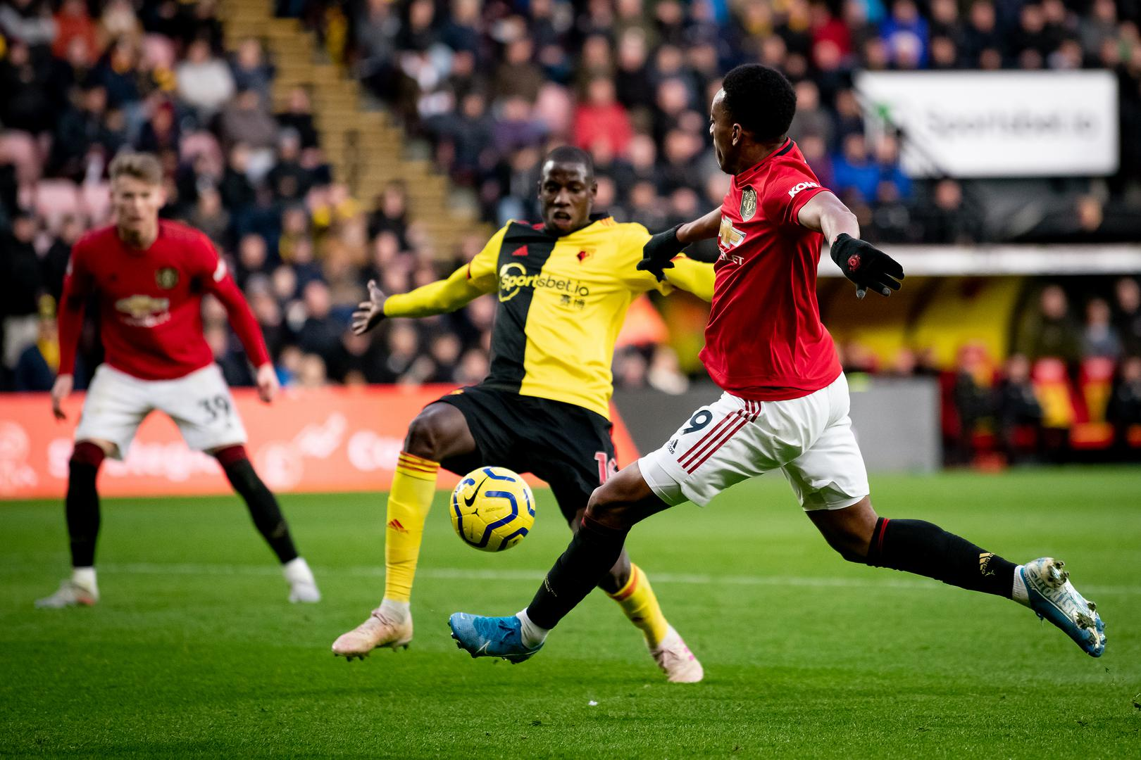 Anthony Martial playing for Manchester United against Watford.