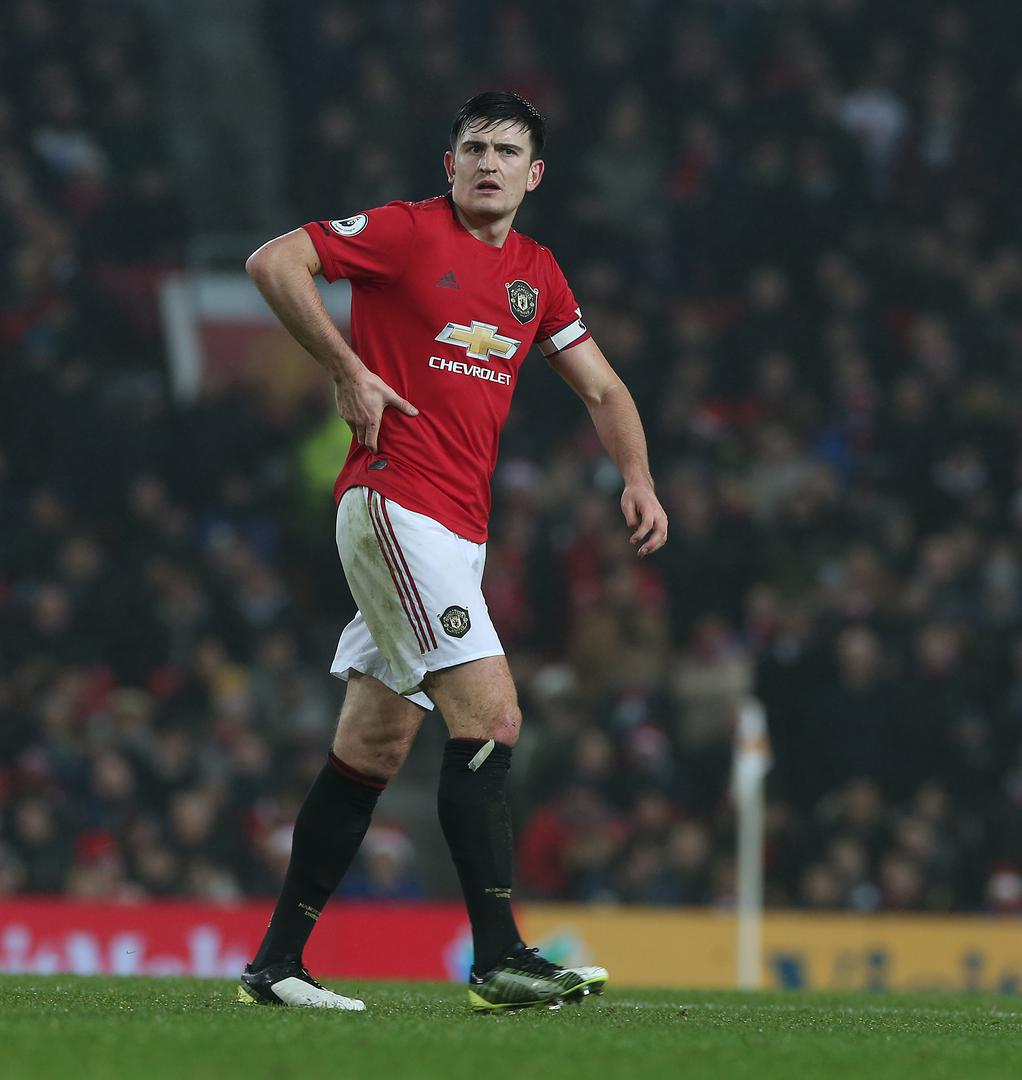 Harry Maguire in action at Old Trafford.,