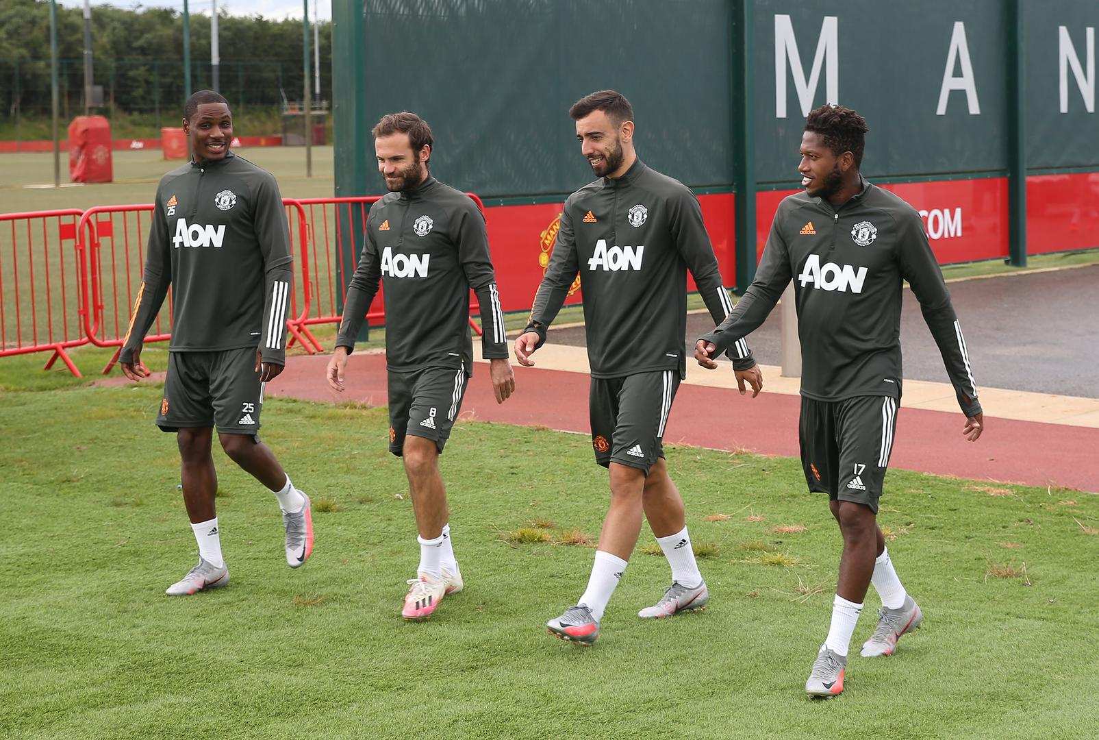 Odion Ighalo, Juan Mata, Bruno Fernandes and Fred walk out for a training session on Monday 3 August 2020