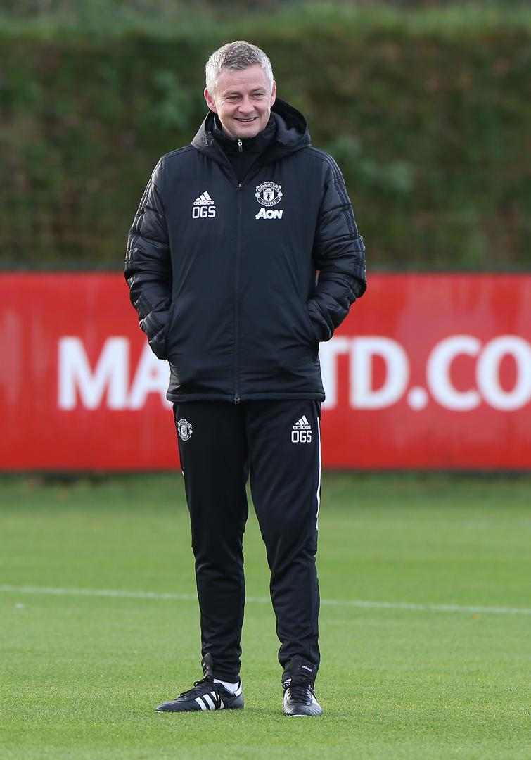 Ole Gunnar Solskjaer during Manchester United training.,