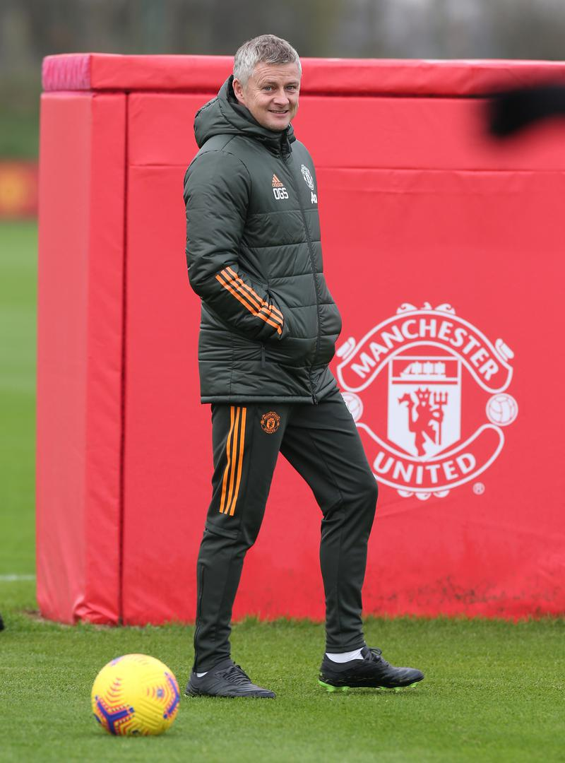 Ole Gunnar Solskjaer during Manchester United training.