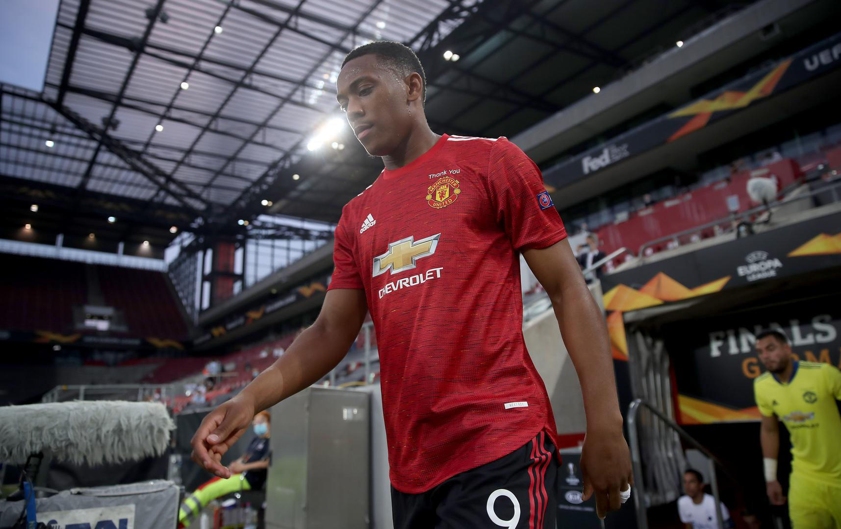 Anthony Martial walks out at Stadion Koln