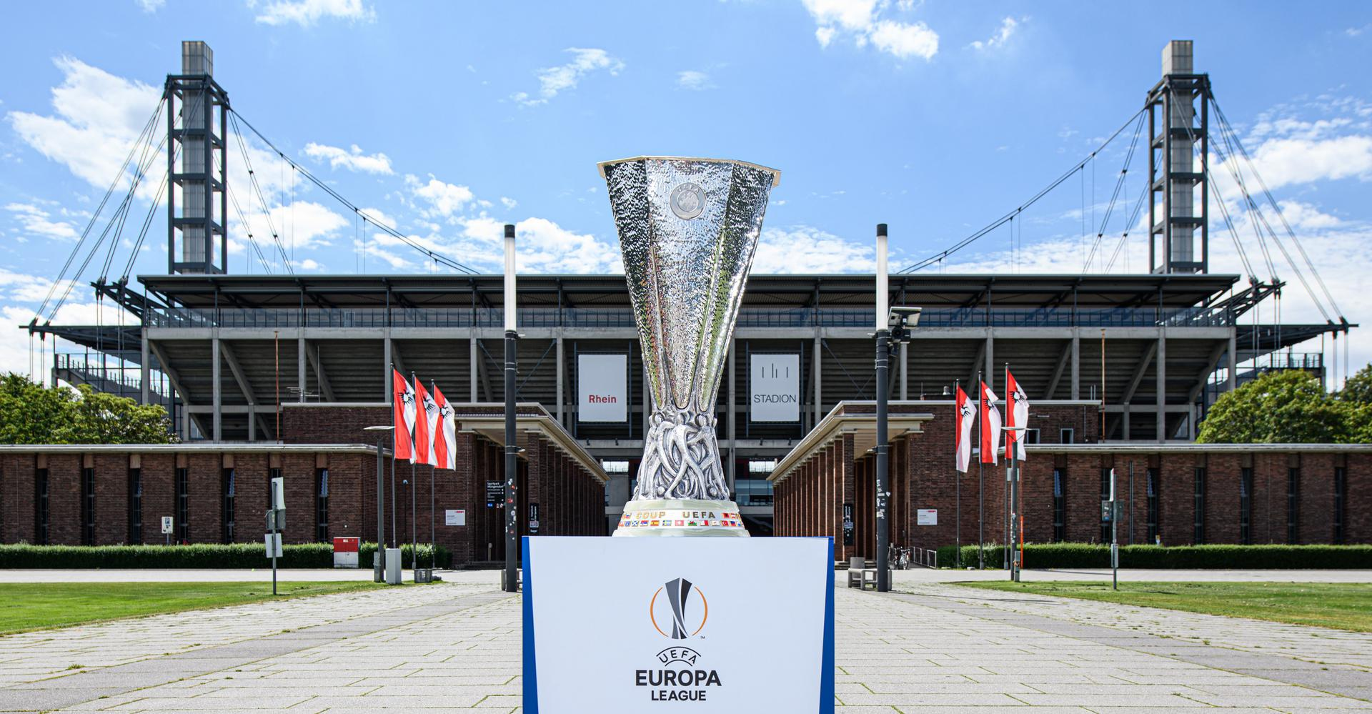 Europa League trophy outside Stadion Koln,