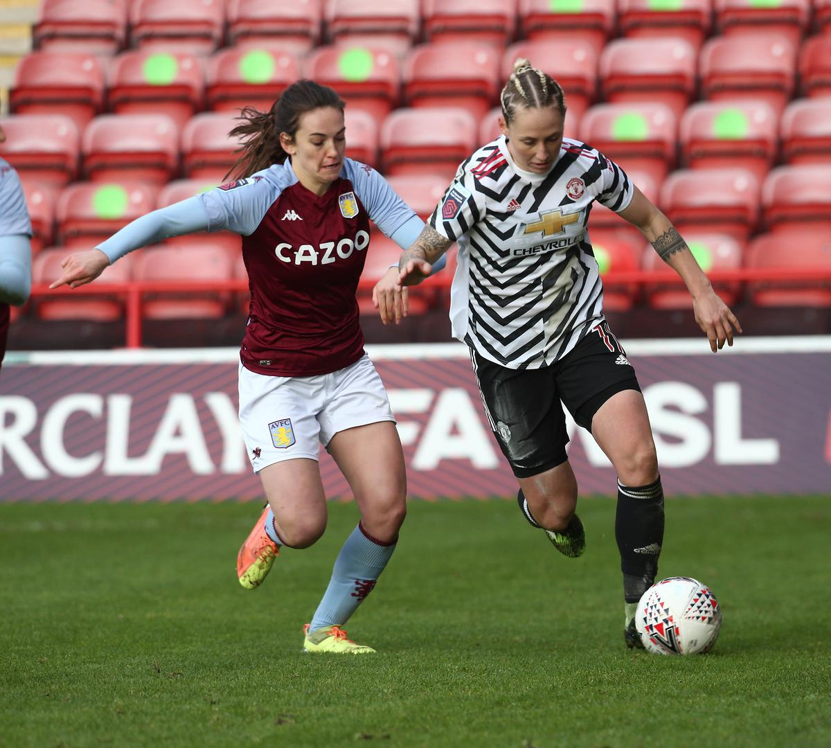 Leah Galton on the ball against Aston Villa Women
