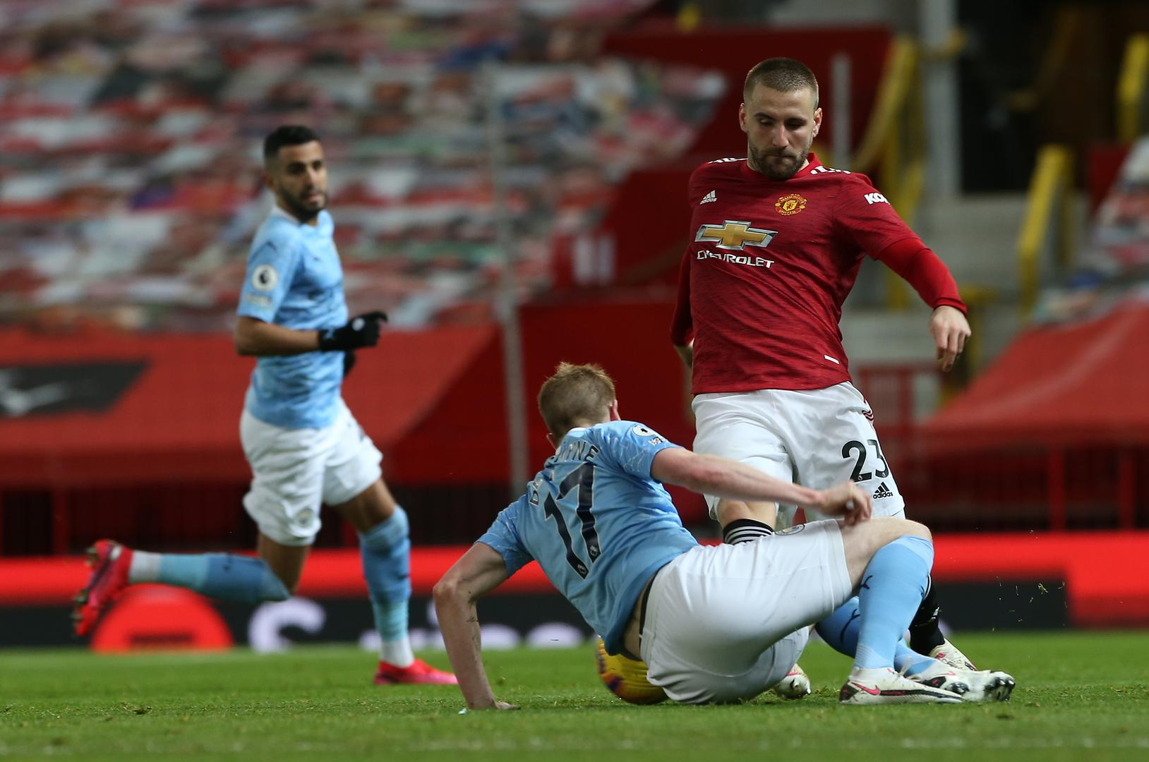 Luke Shaw in action against City in the Manchester derby,