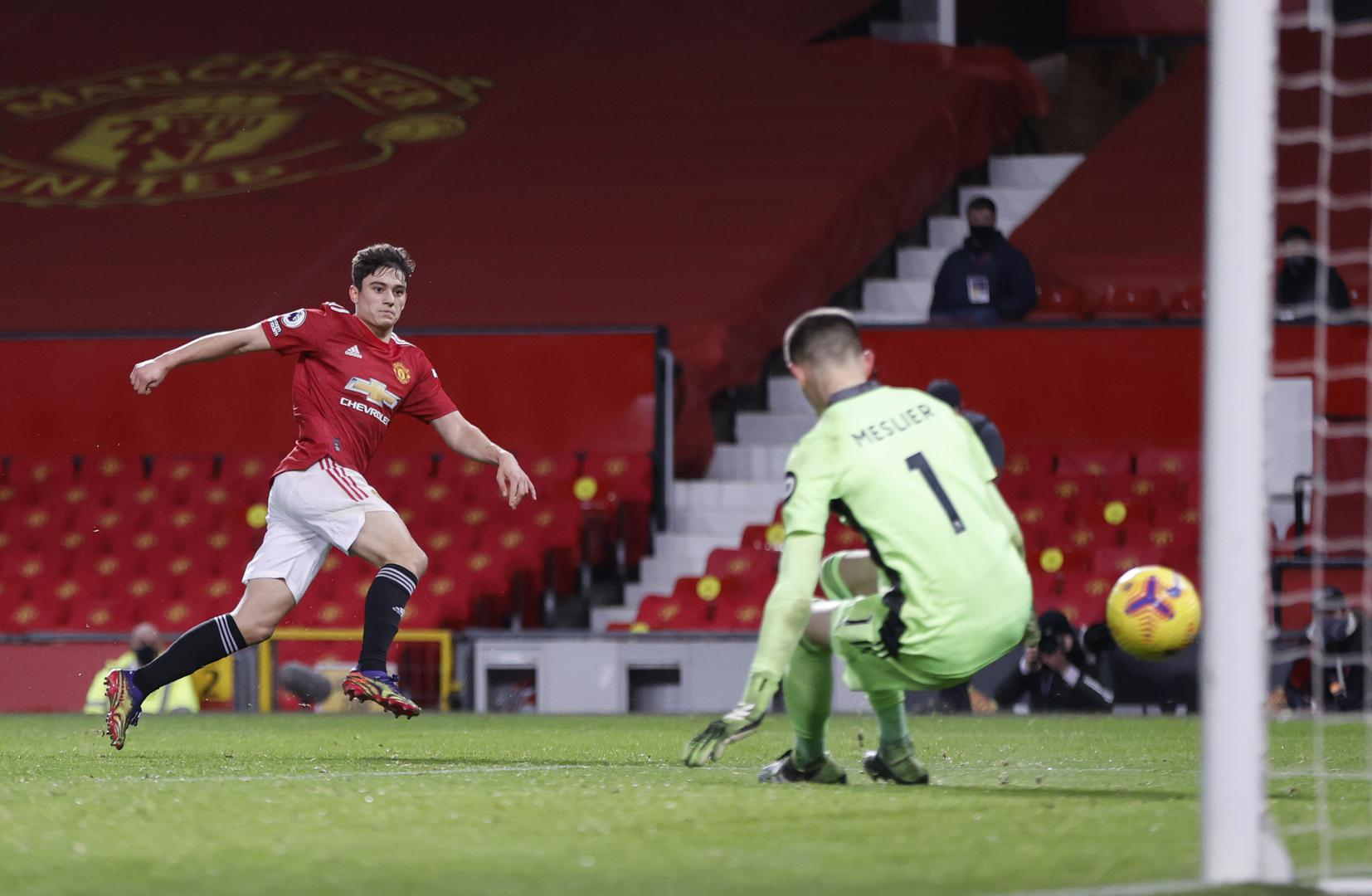 Daniel James scores Manchester United's fifth goal against Leeds United