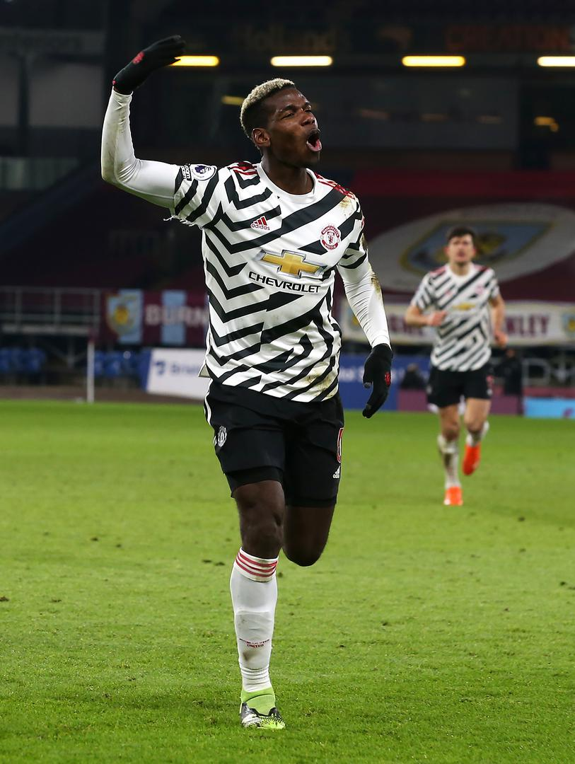 Paul Pogba celebrates his goal against Burnley