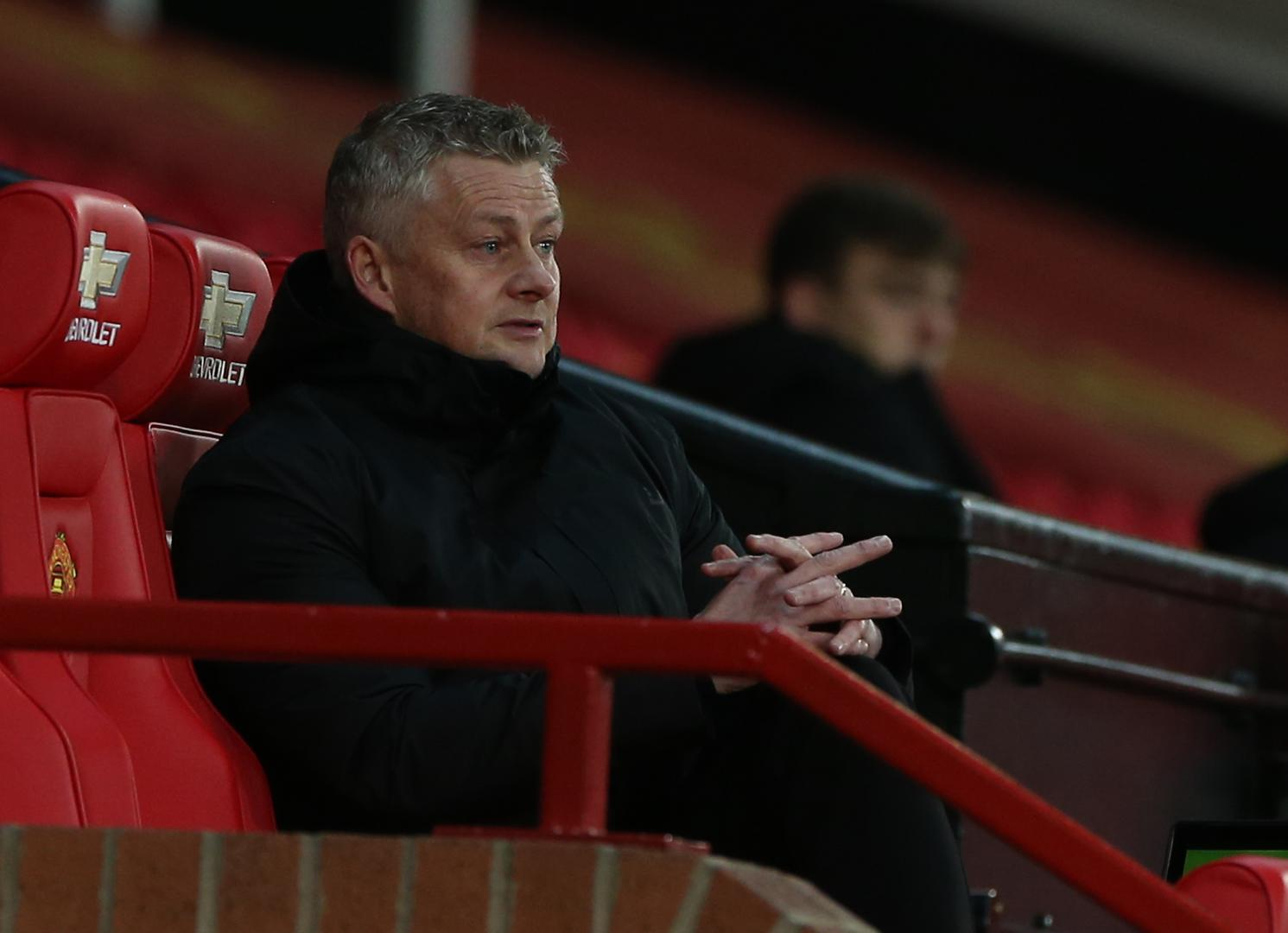 Ole Gunnar Solskjaer in the dugout at Old Trafford
