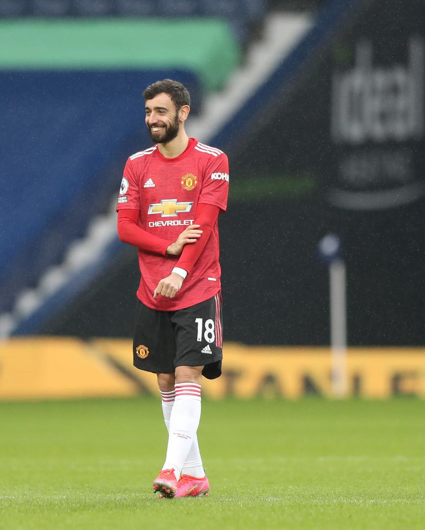 Bruno Fernandes smiles during the West Brom game in which he scored Manchester United's 50th Premier League goal in 2020/21