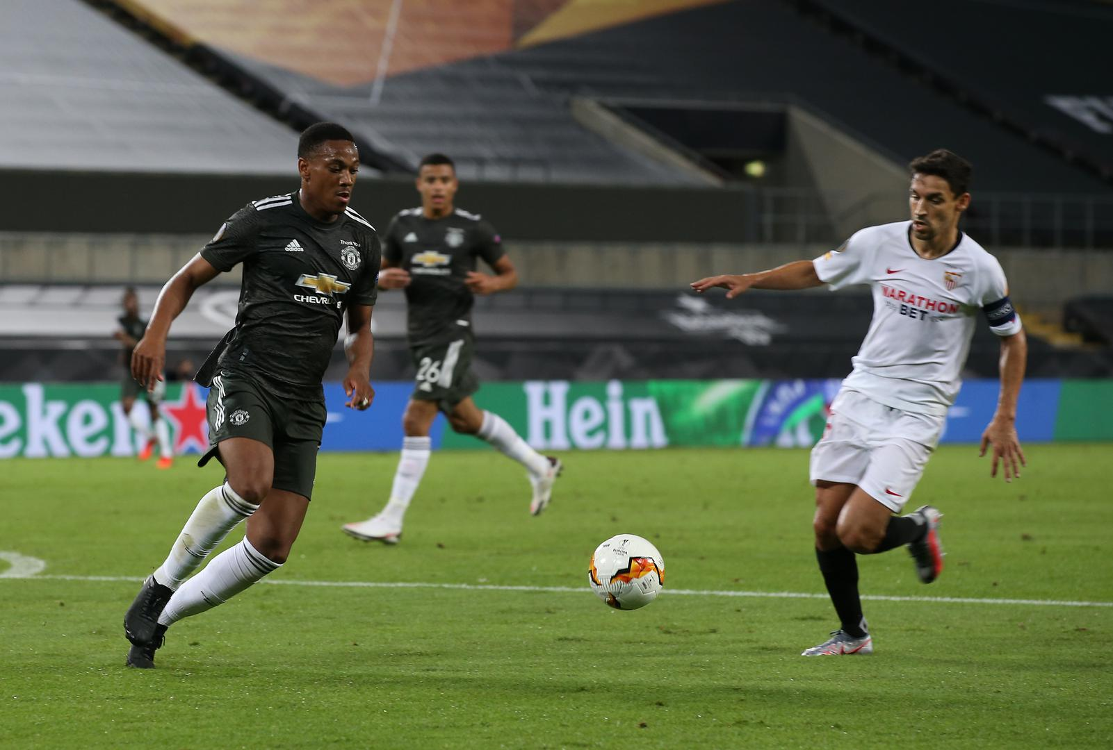 Anthony Martial in action against Sevilla