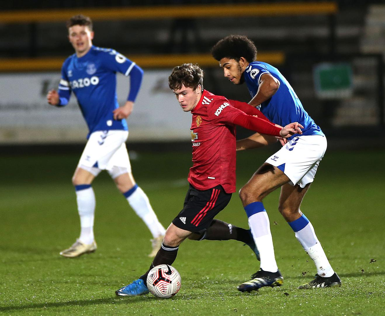 Charlie McCann on the ball for Manchester United Under-23s against Everton