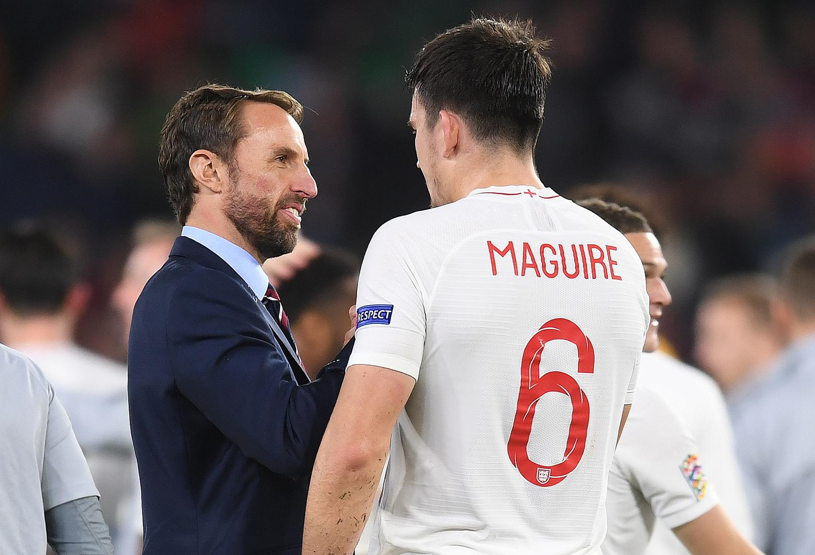 Gareth Southgate with Harry Maguire