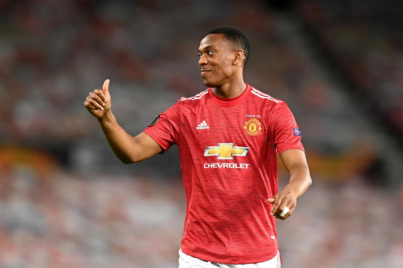 Thumbs up from striker Anthony Martial.