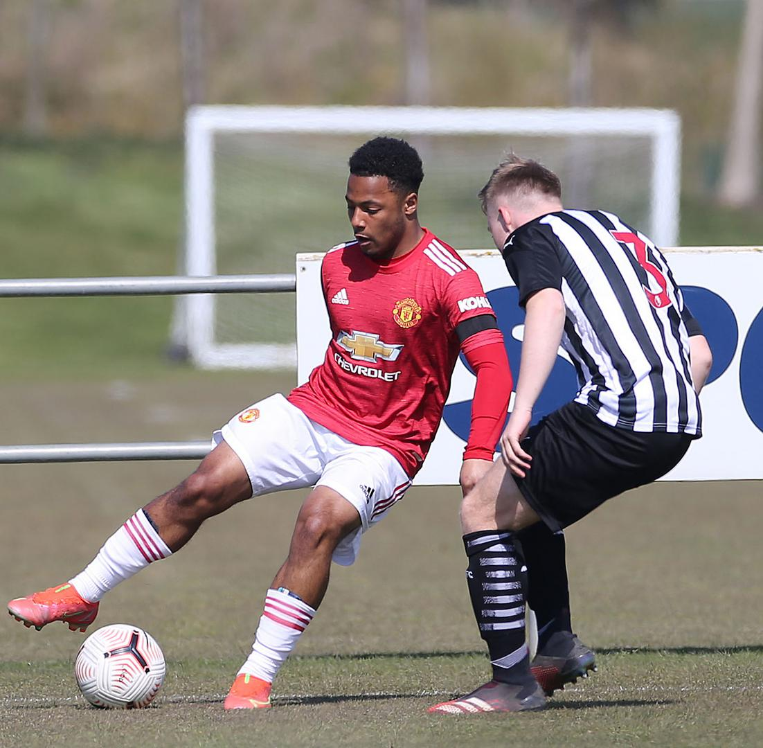 Dillon Hoogewerf on the ball against Newcastle United Under-18s