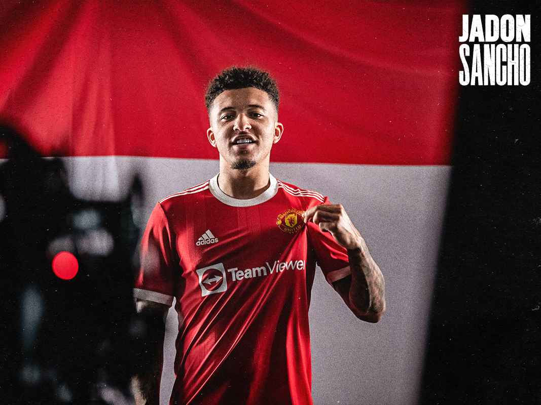 Social media reaction to Jadon Sancho completing his transfer to Man Utd    Manchester United