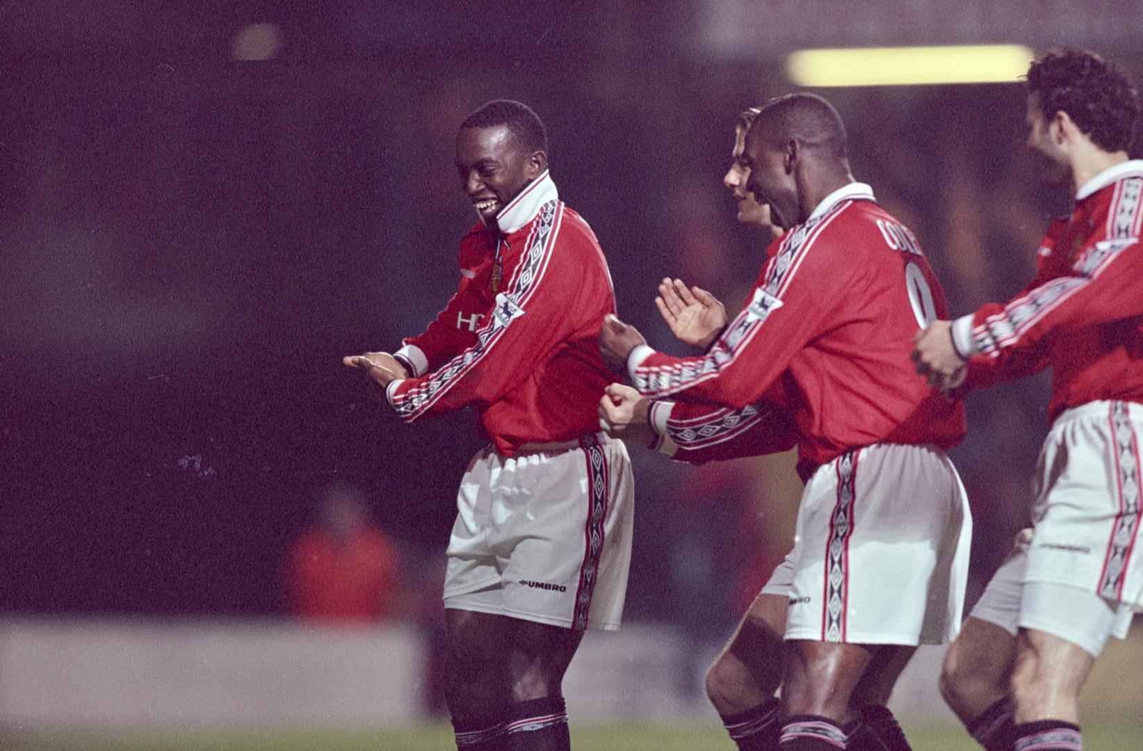 Dwight Yorke celebrates his goal against Chelsea in 1999.