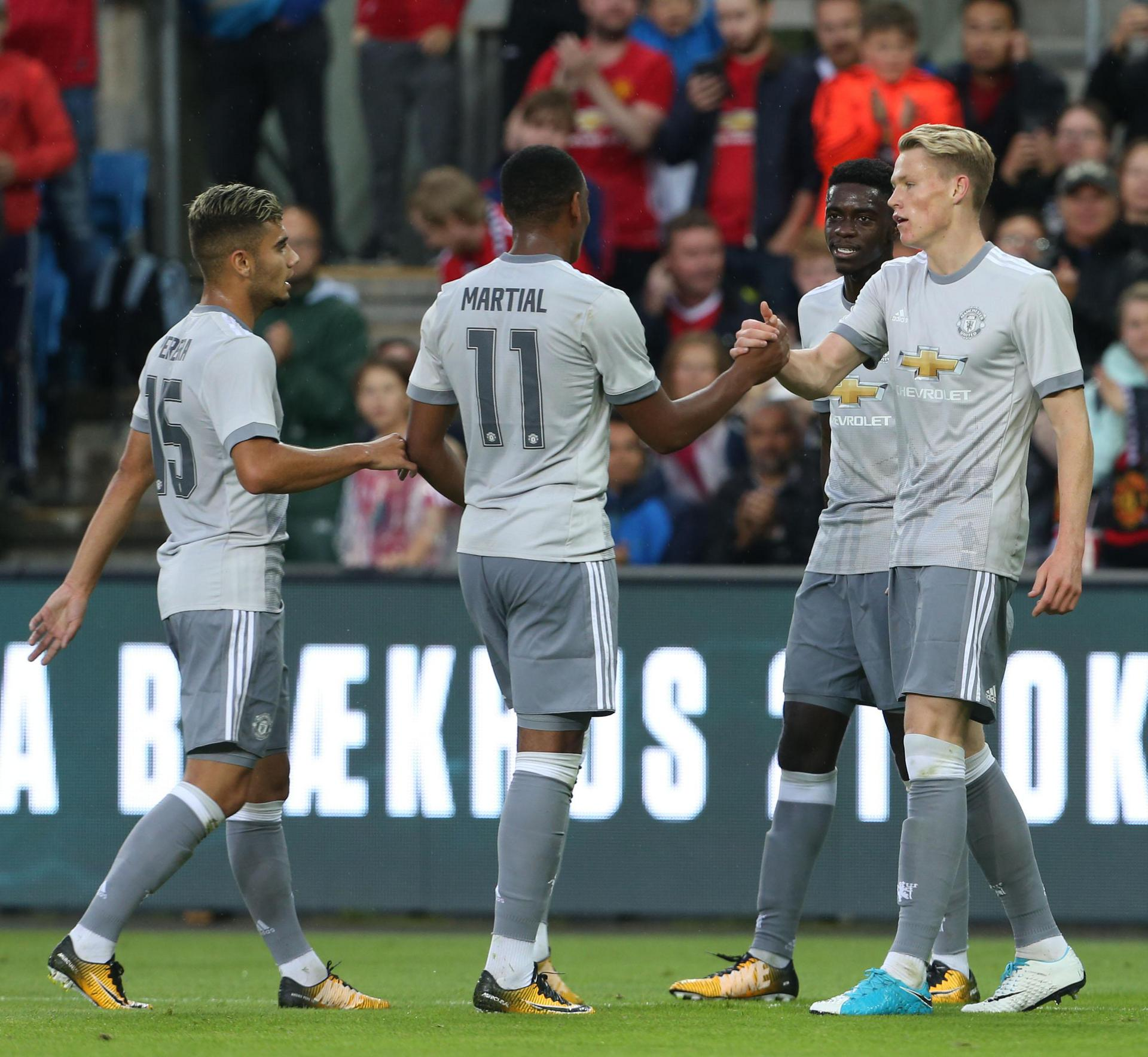 Scott McTominay celebrates his goal with his Manchester United team-mates