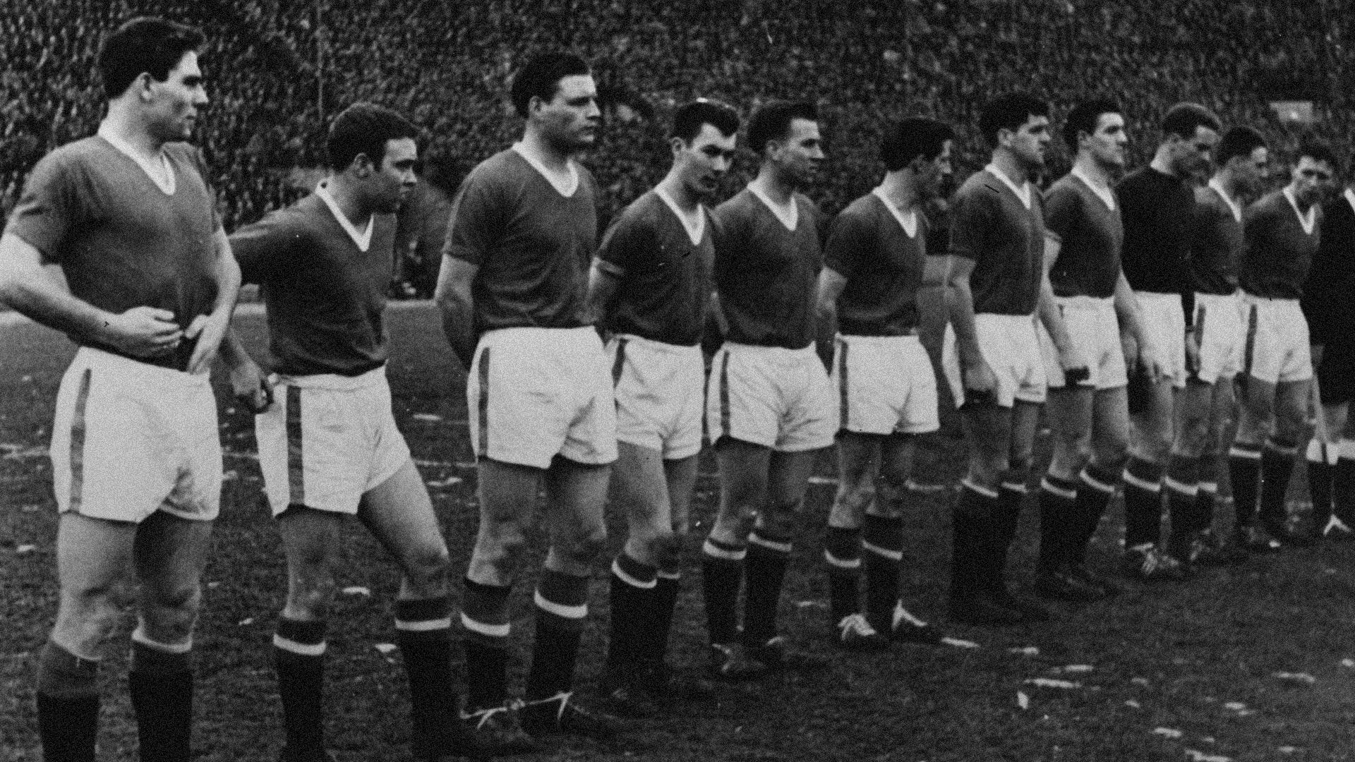 Manchester United line up before the European Cup quarter-final, second leg against Red Star Belgrade in February 1958 - the final game before the Munich Air Disaster