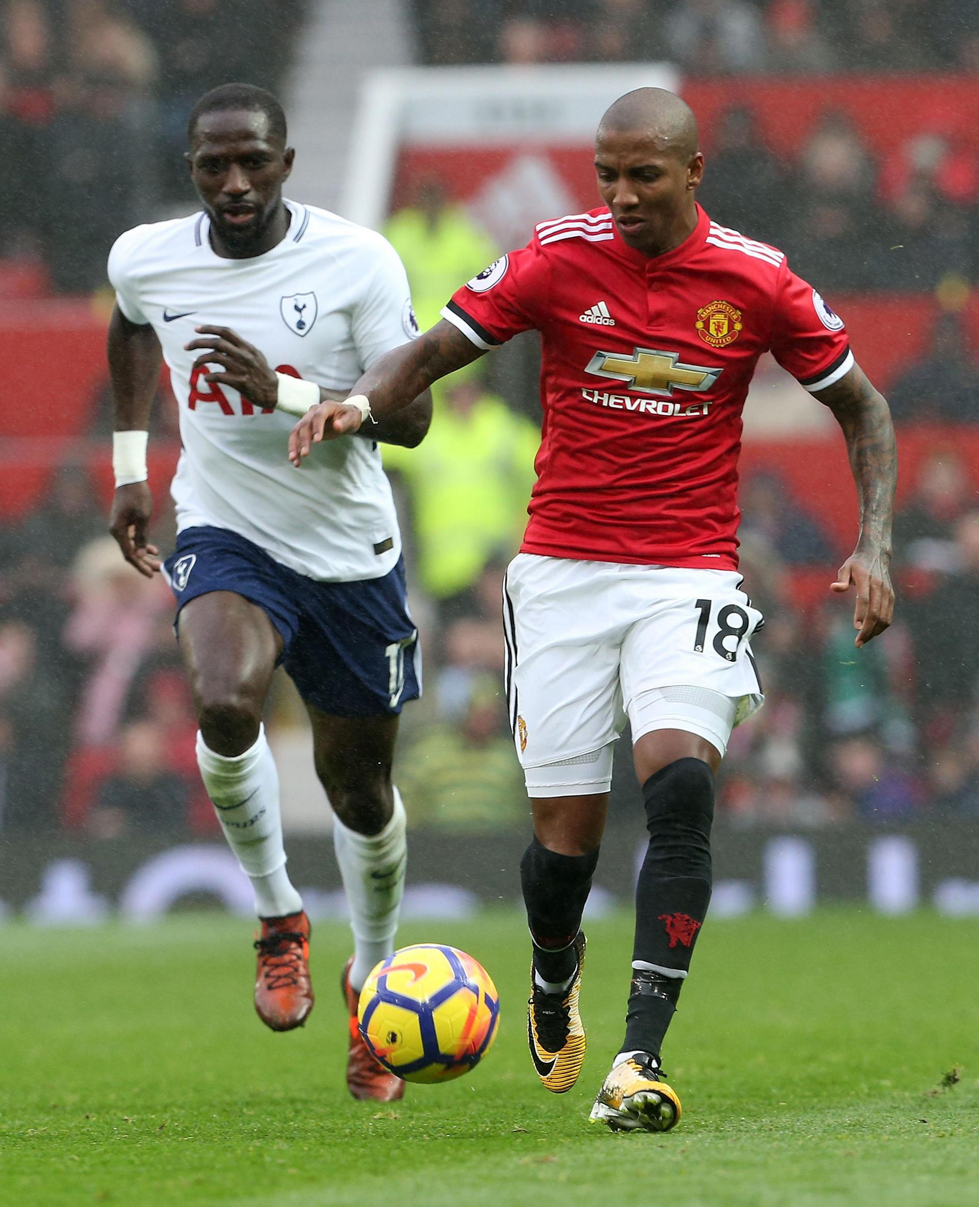 Ashley Young in action against Tottenham
