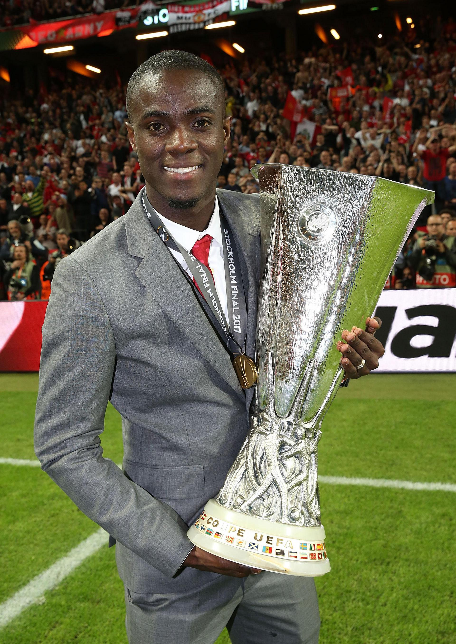 Eric Bailly with the Europa League trophy