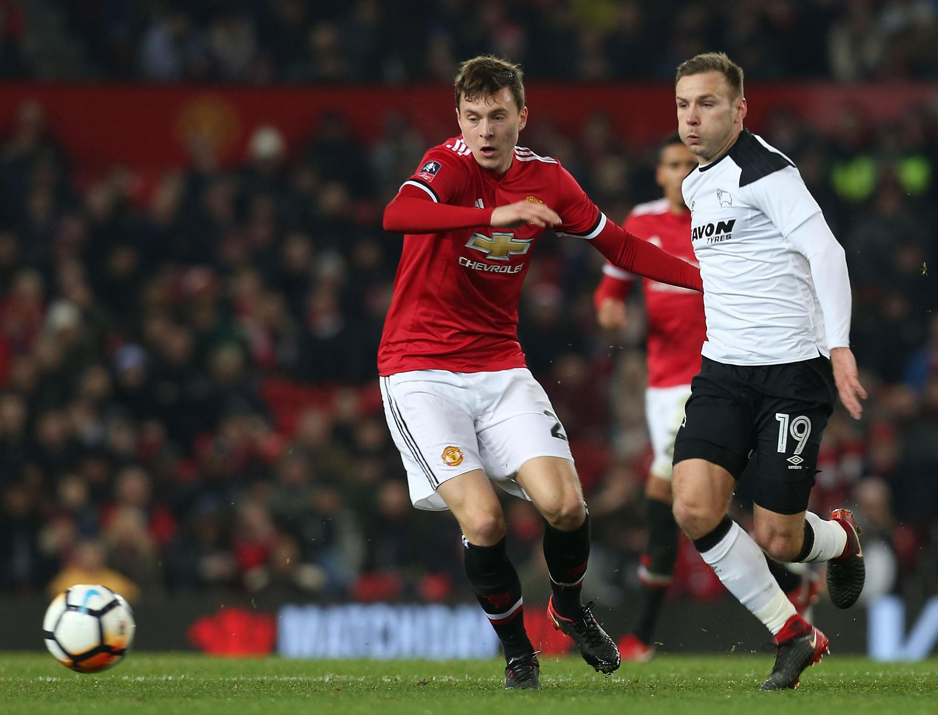 Victor Lindelof in action against Derby County in January 2018