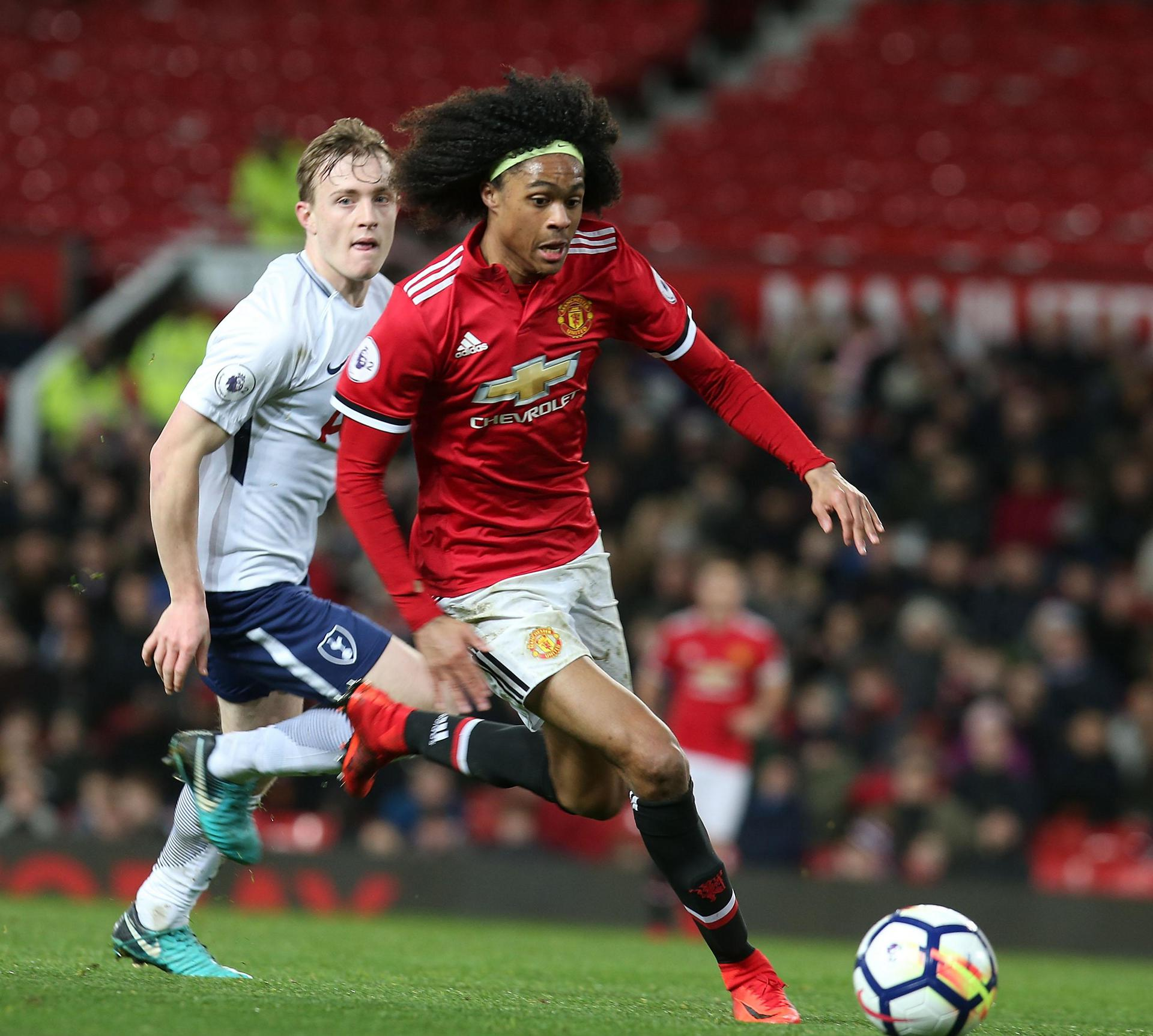 Tahith Chong in action against Tottenham Under-23s