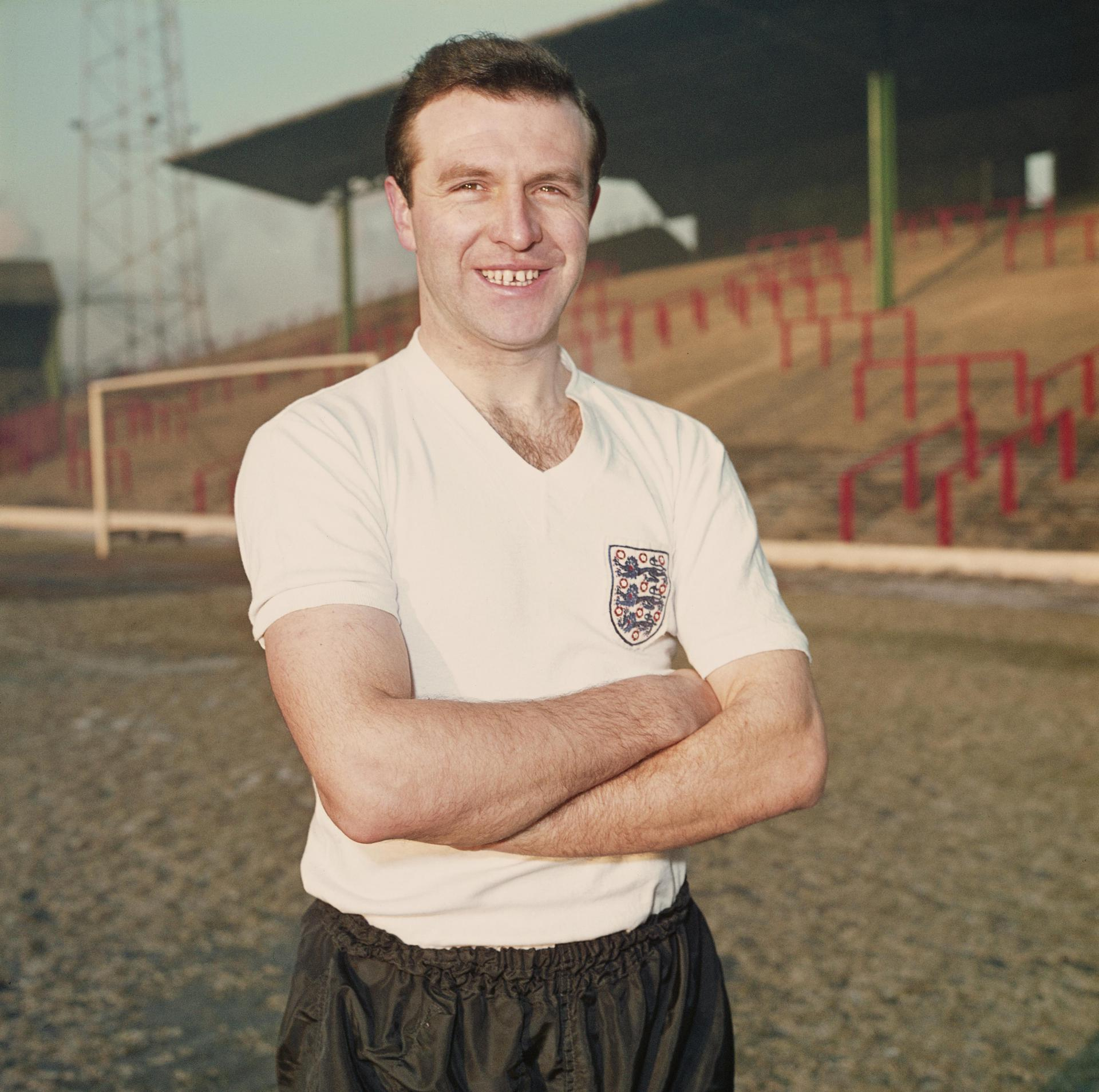 Jimmy Armfield posing in his England kit.