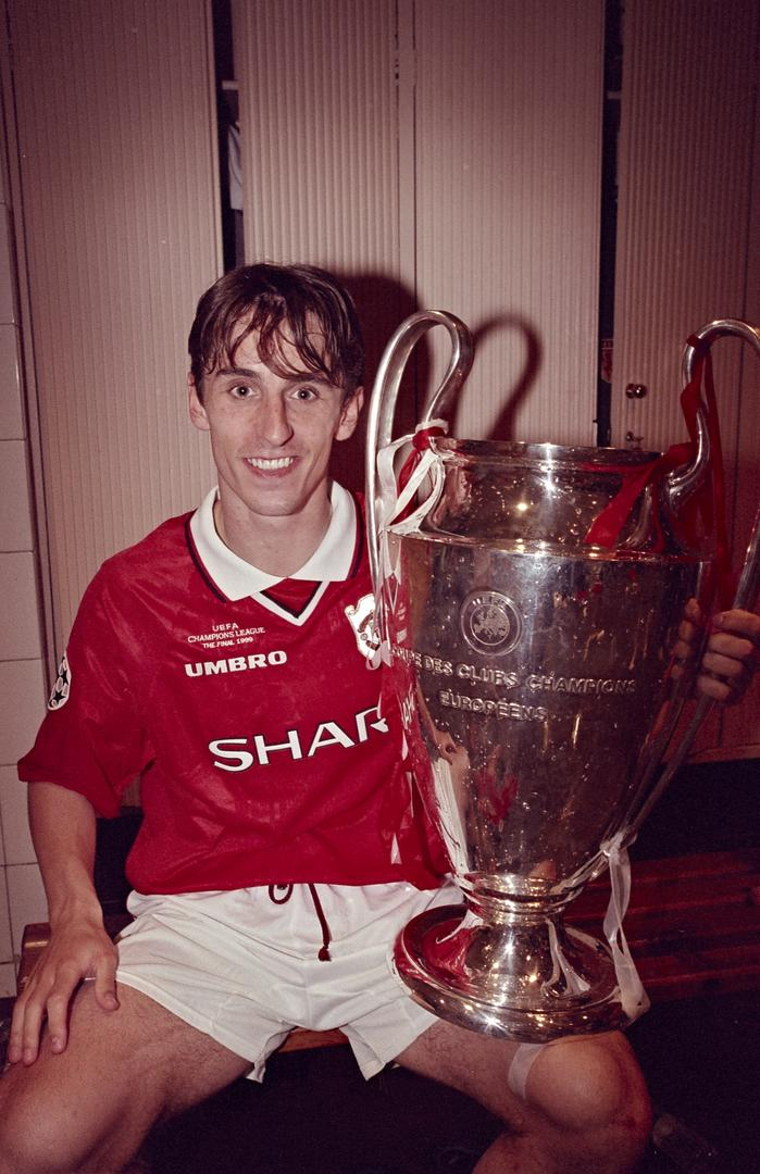 Gary Neville with the Champions League trophy.